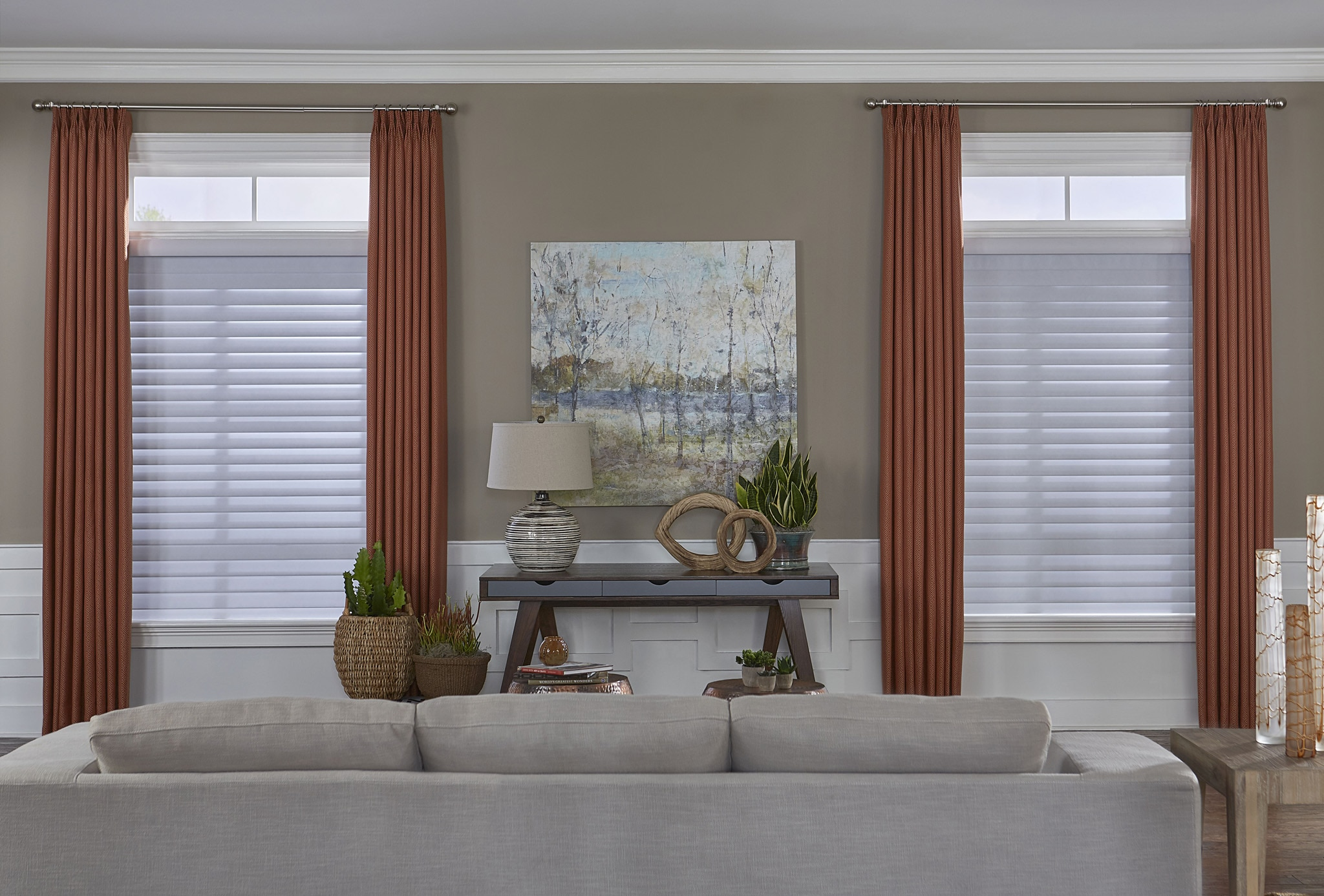 the room darkening sheer shade paired with the easy classic pleat drapery sheer shade color 3u201d soft white s70pn100d drapery color athena red earth