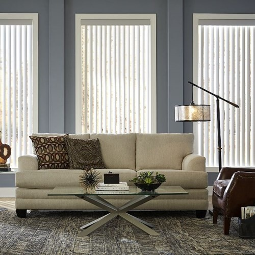 Vertical Blinds can be a beautiful option for picture windows or tall windows when you still want the option for a clear view. Shown in the pattern Curved Light Grey.