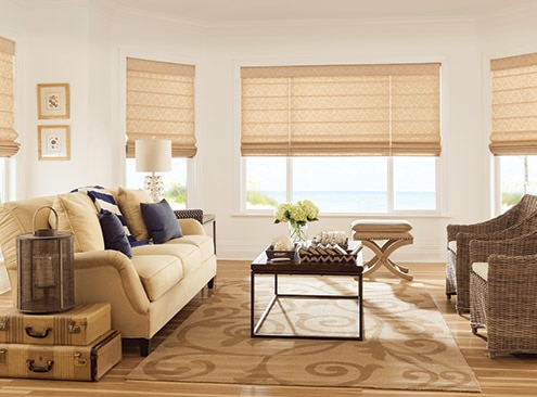 flat roman shades with 6 inch valance and 1 teardrop crystal bead trim in light gold 202 and motorized lift jules old money