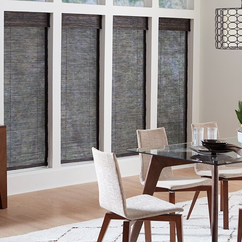 Cordless woven wood shade with no liner. Color: Biscayne Charcoal D15-17