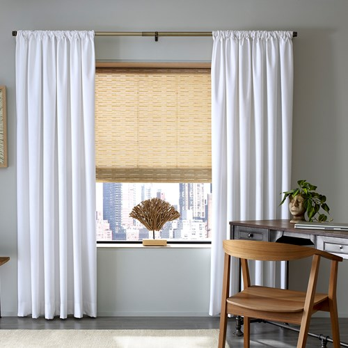 Drape Color: Wilmington Bright White; Woven Wood Shade Color: Sanibel Natural