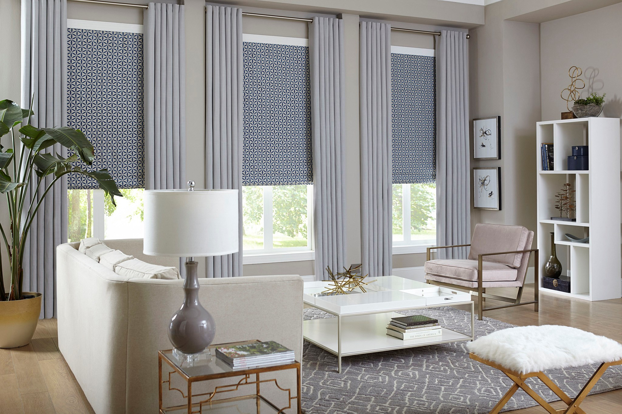 The Premier Roman Shade Paired With The Easy Grommet D Ry Roman Shade Color Twirl China Blue Fba D Ry Color Gent Greystone