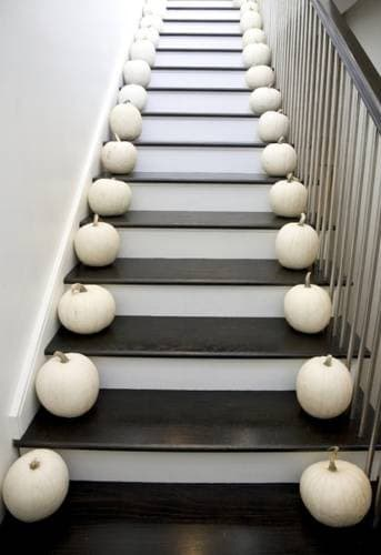 White pumpkins on stairs