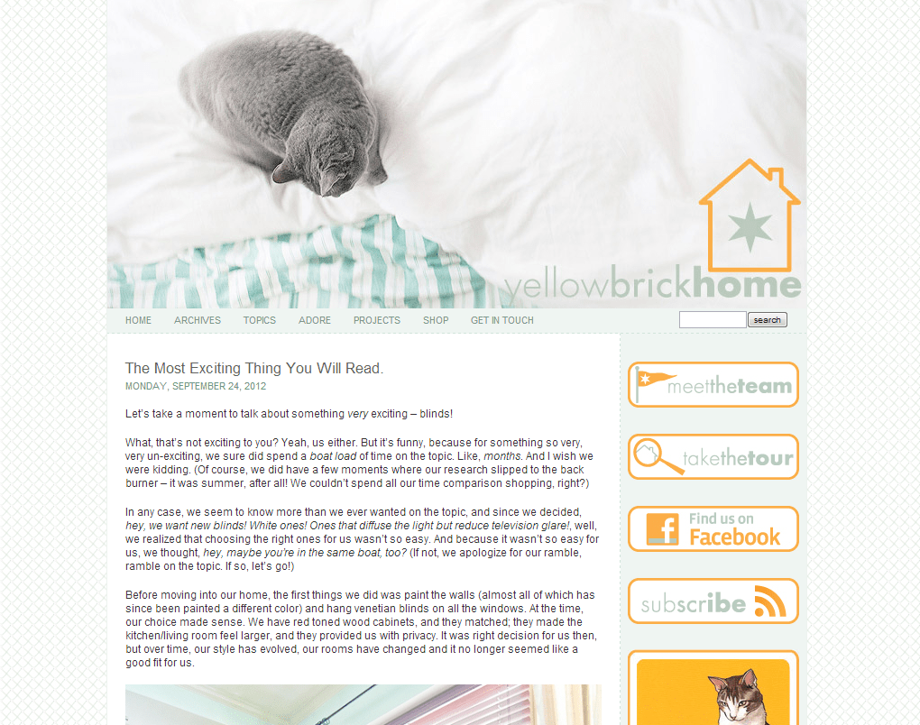 Yellow Brick house Talks about Blinds.com