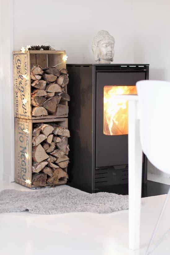Milk Crate Firewood Storage