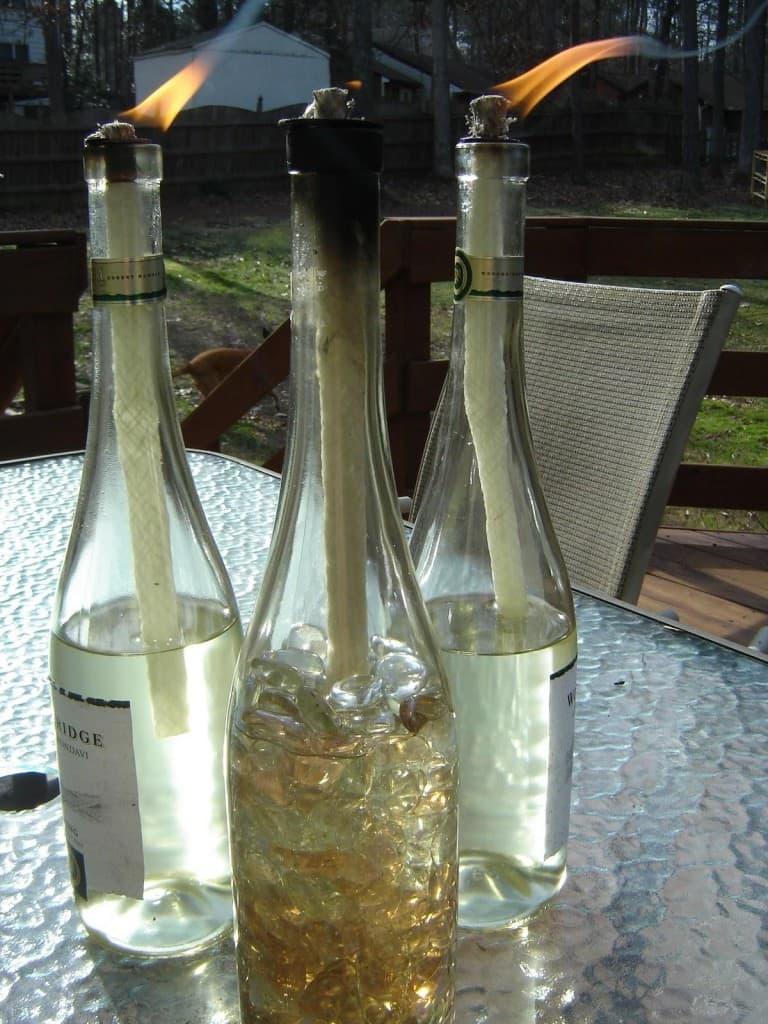 Wine-bottle Tiki Torches
