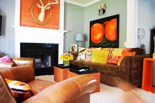 orange & black living room