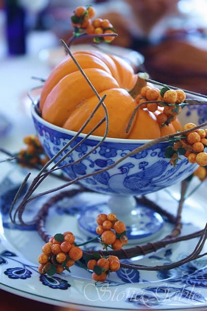 Blue and white china fall decorating