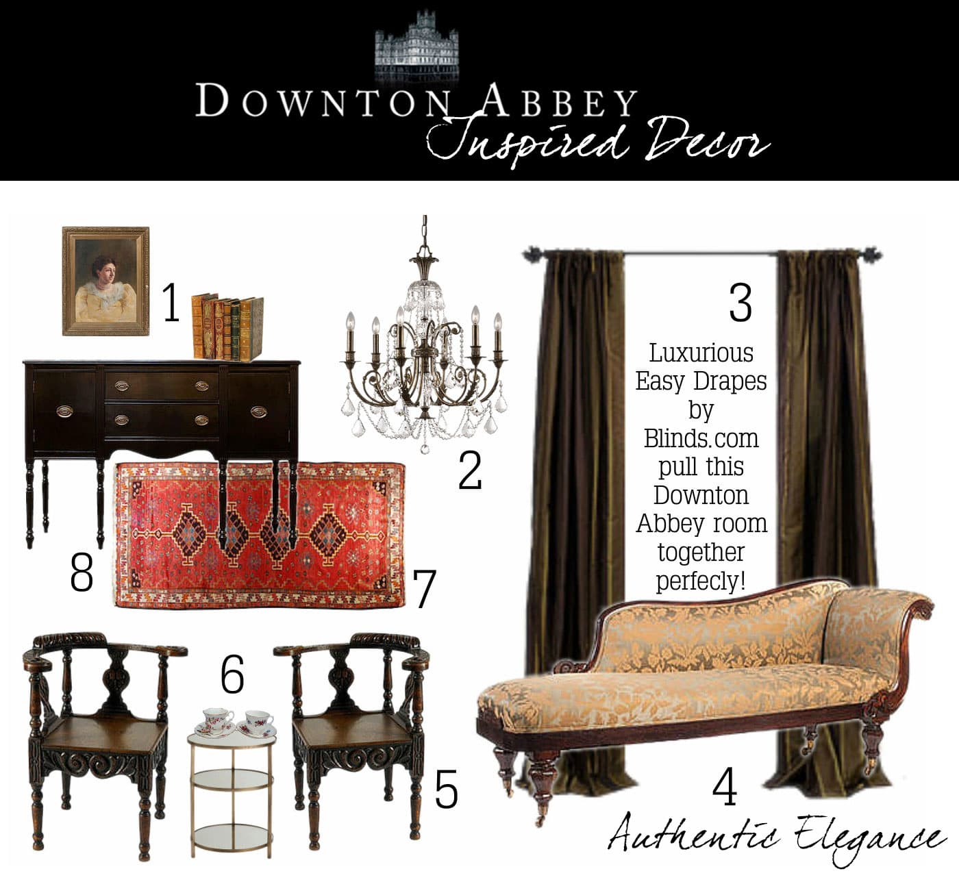 Downton Abbey Living2 In the Lap of Luxury   Downton Abbey Inspired Decor