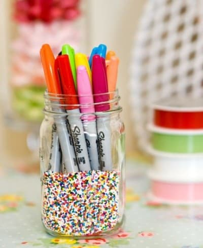 Dorm decor ideas - sprinkles pencil holder