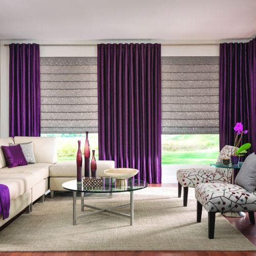 purple and roman Reinventing Roman Shades