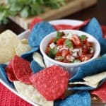 Red white and blue chips and salsa