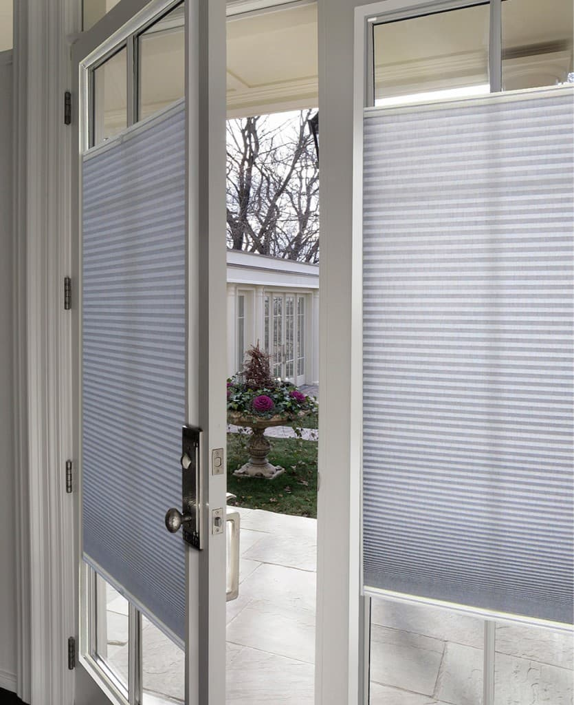 What is the best window treatment for french doors the for Door window shades blinds