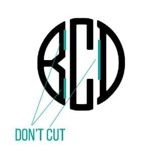 where to cut monogram stencil