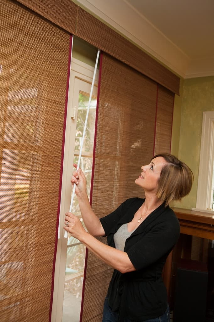 Woven Wood Sliding Panels with Wand
