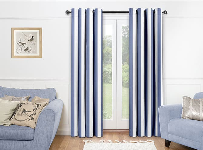 Blinds.com Premier Grommet Drapery Panels in Broad Stripe