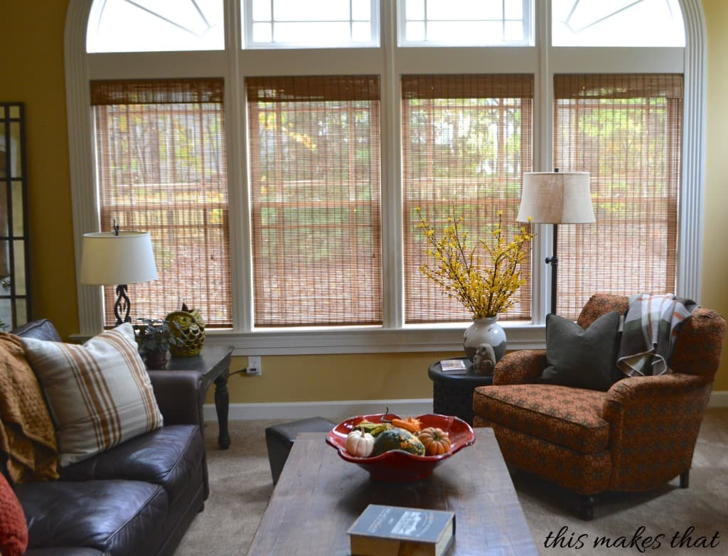 Bamboo Shades Bring Warmth to the Family Room - The Finishing Touch