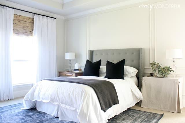 white bedroom drapes