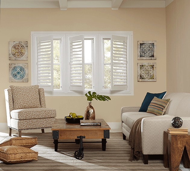 living room shutters. You can choose full shutters which open as one panel  4 Decisions to Make Before Ordering Plantation Shutters The