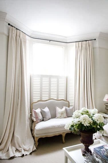 Long Bay Windows : How to style puddled curtains the finishing touch