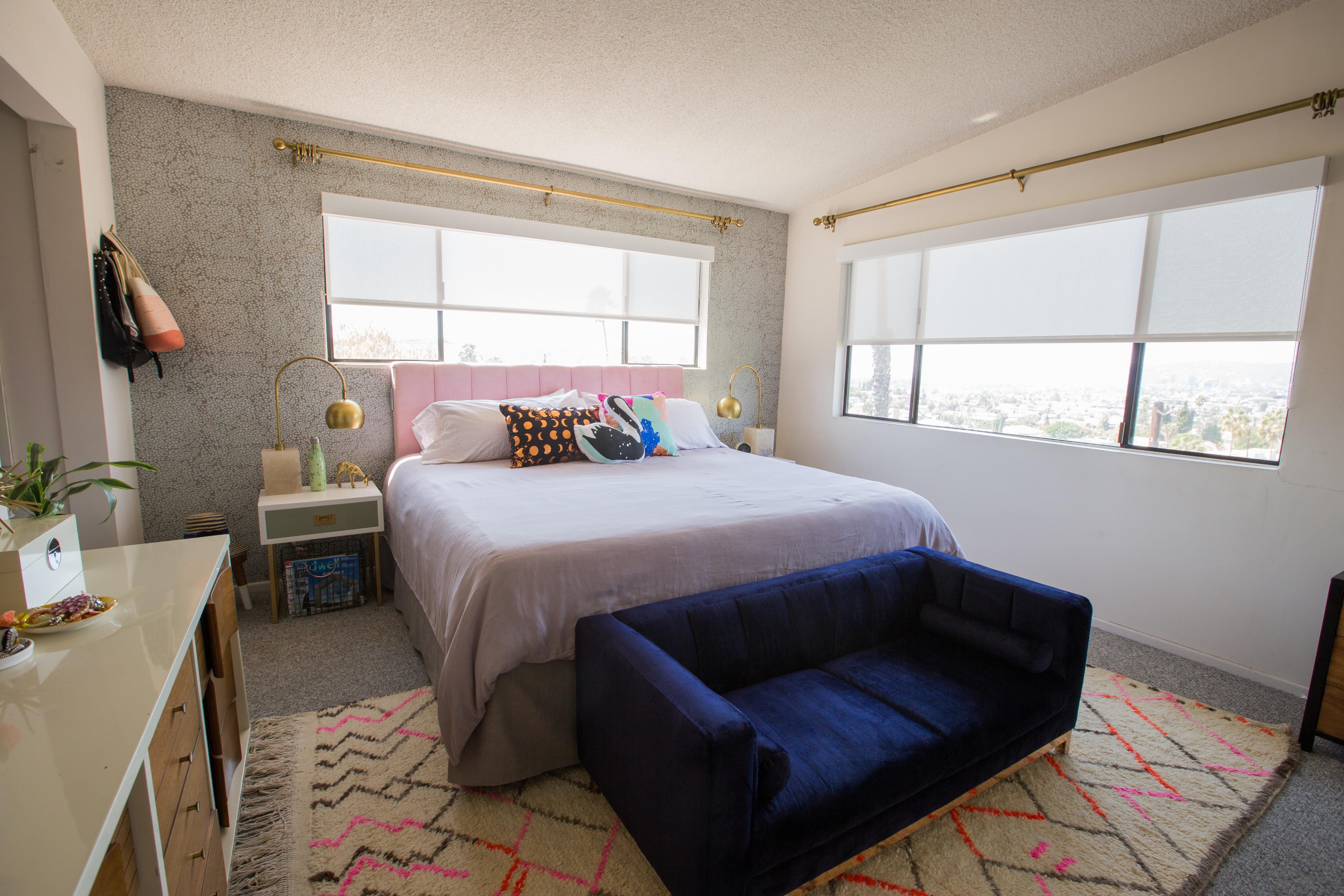 oh Joy bedroom makeover solar shades