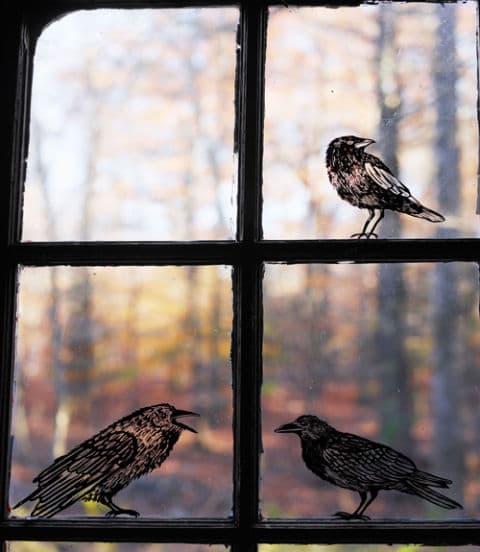 crow window clings halloween