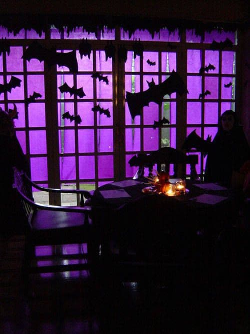 Halloween window silhouettes purple bats