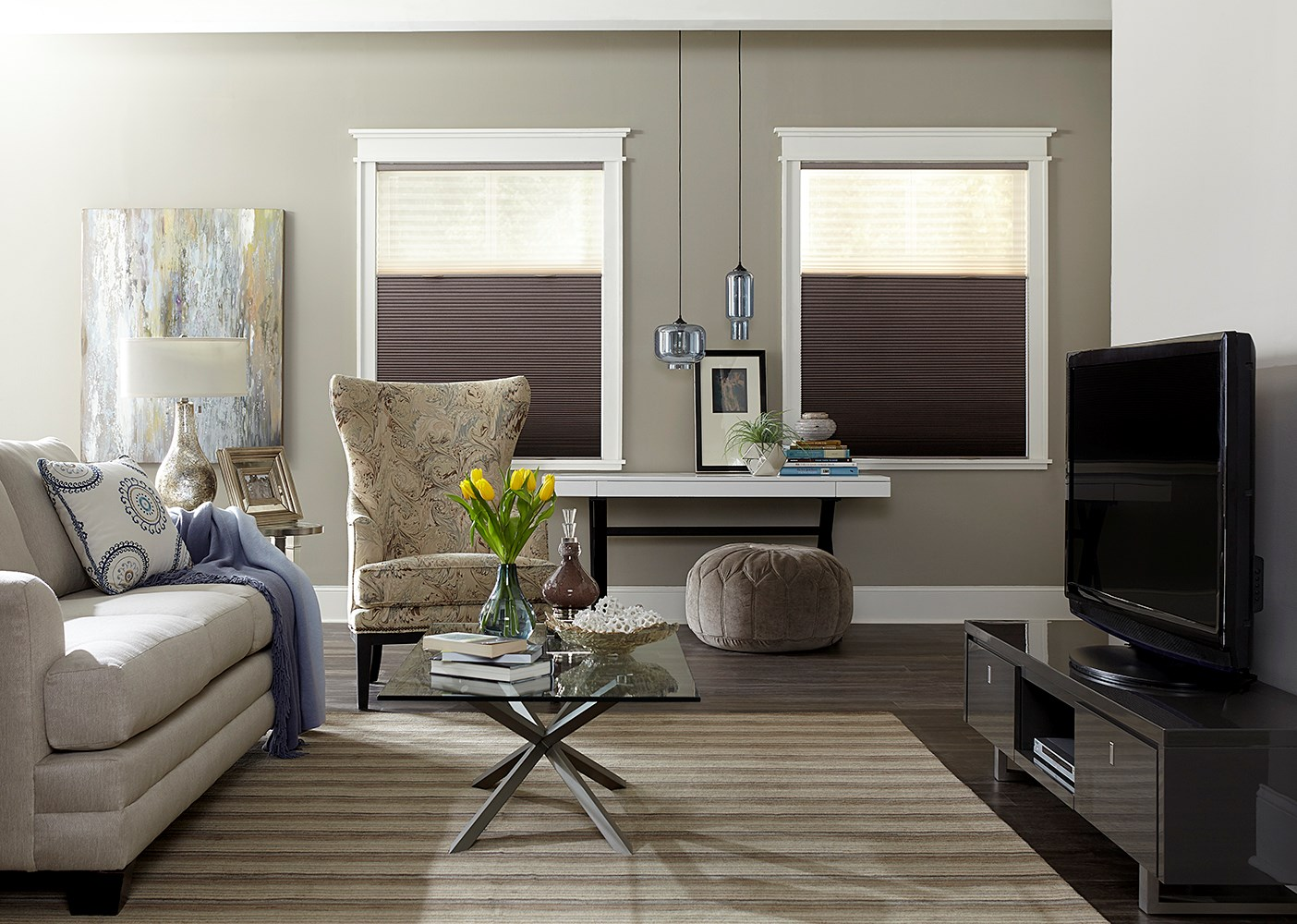 518199_SignatureBOCellShades_SugarplumandBeige_CrdlssTrilight_HalfDown (MB Blinds).jpg